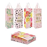 Wine Bottle Gift Bags for Bachelorette, Wedding, Birthday Party, 4 Designs (12 Pack)
