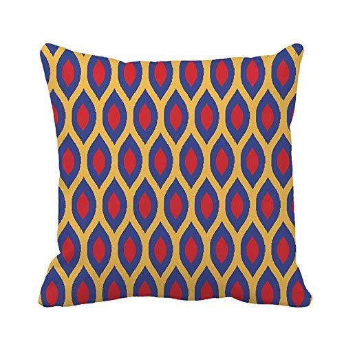 N\A Fodera per Cuscino di tiro Colorato Bauhaus Blu Rosso e Giallo Enhanced Ikat Ogee Federa Fodera per Cuscino Quadrato Decorativo per la casa