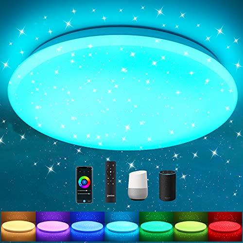 Oeegoo Smart Lámpara de techo regulablecon mandoy control por aplicación 18W 1800LM, Plafón LED techo inteligente, compatible con Alexa& Google Home para salón, habitación infantil, dormitorio, φ30cm