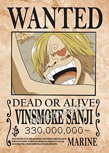 Retro Wanted Bounty Anime Cartoon Comics Pirate Movie One Piece Vinsmoke Sanji Lienzo Pintura Arte de la Pared Poster Prints Kids Boy Fans Dormitorio Decoración para el hogar