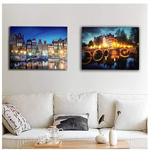 Amsterdamse gracht brug stad nacht muur foto canvas up decor schilderij artwork afdrukken opknoping voor de woonkamer-40x60cm x2pcs No Frame