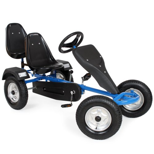 TecTake Go-kart gokart go Kart pedal 2 seater outdoor toy racing fun cart -different colours- (Blue)