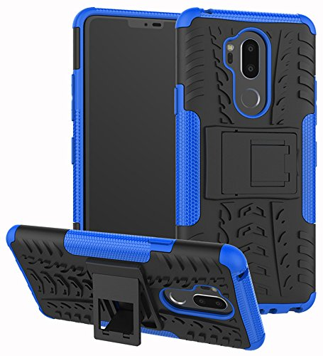 LG G7 Case, Yiakeng Dual Layer Shockproof Wallet Slim Protective with Kickstand Hard Phone Case Cover for LG G7 ThinQ 6.1' (Blue)