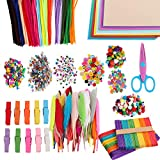 Arts and Crafts Supplies Kit DIY Set for Kids Christmas GiftCraft Buttons, Pompoms, Colored Popsicle Sticks, Googly Eyes, Pipe Cleaners, Sequins, Papers and Chenille Stems Feathers Mega Pack