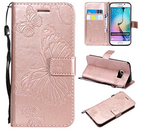 Leder Wallet Case für Samsung Galaxy S6 Edge Flip Case Schutzhülle Stoßfest Cover mit Magnetverschluss Standfunktion Kartenfächer für Galaxy S6Edge - JEKT040666 Rosegold