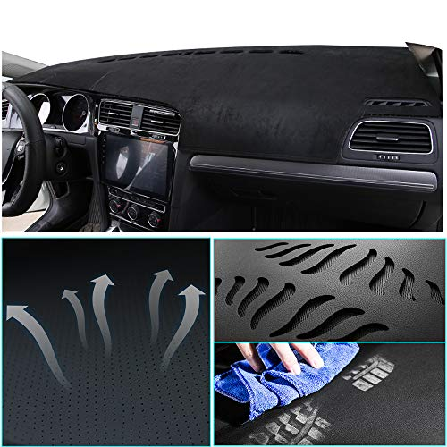 Muchkey Suede Car Dash Board Cover Mat Fit for Toyota Prius 2010-2015 Trim: Base,Dashboard Protector,Easy Installation,Black line