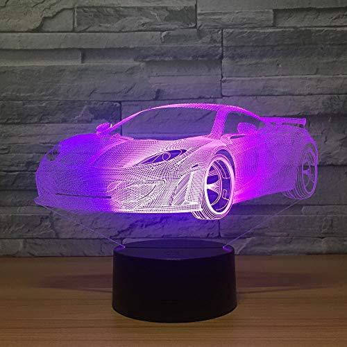 Kingchip Super Rennwagen e Nachtlicht 3D LED USB Tischlampe Kinder Geburtstagsgeschenk Nachtzimmer Dekoration