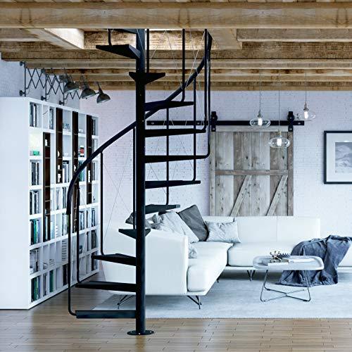 RF Serveis. Escalera de Caracol de Interior de metal. Modelo BCN Pinio. Para una altura de 264 cm. hasta 286 cm (11 elementos +p). Diámetro 120 cm.