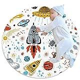 Alfombra Redonda de algodón Patrón de Planeta de Cohetes espaciales Lavable a máquina, para el recibidor, Pasillo, hogar, Cocina, Sala de Estar, Dormitorio 100cm