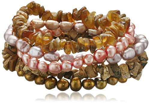 Autumn Leaf Multi-Color Dyed Freshwater Cultured Pearl and Gemstone Chips 5 Piece Stretch Bracelet Set, 7.5
