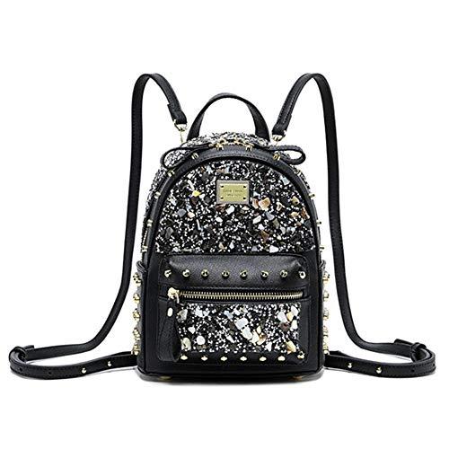 Damen Pu Leder Mini Rucksack Lässig Wasserdichte Schultasche Strass glänzend Schultertasche Simple Persönlichkeit Für Jugendlich Mädchen (Schwarz)