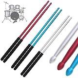 OriGlam Baquetas de aluminio de 5A, baquetas de aluminio, baquetas de aluminio, baquetas de estudio, herramienta de música, baquetas de banda para tambor de jazz y almohadilla de tambor tonta (plata)