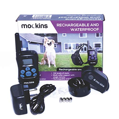 Mockins 100% Waterproof and Rechargeable Electronic Remote Training Dog Collar | Shock Collar for Dogs with 990 ft Range E Collar, Beep and Vibration Easy to Use for Big, Medium and Small Dogs