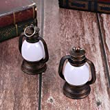 OSALADI 2 Stück Vintage Öllaternen Kleine Petroleumlampe Pferdelaterne Camping Licht Notlicht Outdoor Zeltlampe zum Angeln Wandern Jagd