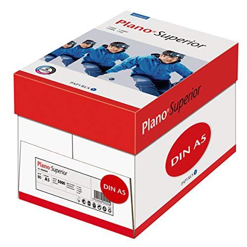 Papyrus 88026798 Drucker-/Kopierpapier PlanoSuperior 80 g/qm DIN-A5, 5.000 Blatt/ 10 Ries = 1Karton, Weiß