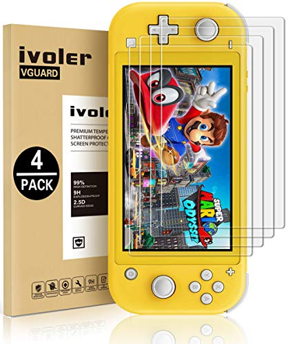 [4 Pack] Screen Protector Tempered Glass for Nintendo Switch Lite, iVoler Transparent HD,High Definition,Clear Anti-Scratch with Anti-Fingerprint Bubble-Free Fit Switch Lite 2019…