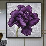 UIOLK Resumen Gran Flor púrpura Lienzo Pintura Elegante impresión y Cartel para Sala de Estar niña Dormitorio Art Deco Pintura de Pared