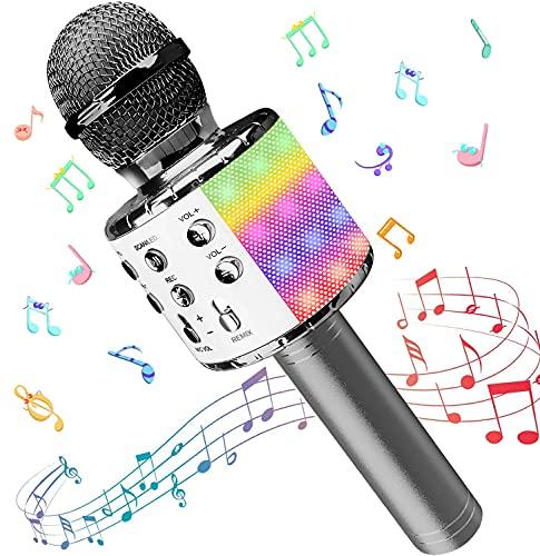 Microfono Karaoke, Wireless Bluetooth LED Flash Microfono con Altoparlante, Portatile Karaoke Player Compatibile con Dispositivi Android e iOS per KTV di Casa/Festa/Canto per Bambini (Grigio argento)