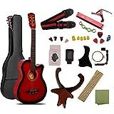 ギター 初心者 入門 アコースティック クラシックギター チューナーピックセット16点セット レッド