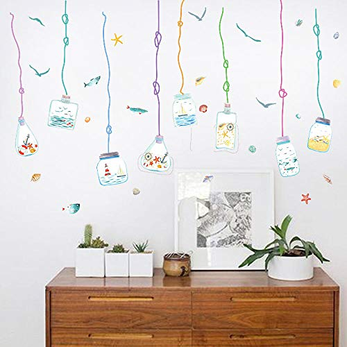 DIOPN Ocean Drift Fles veranda badkamer glazen deur en raam TV achtergrond bank decoratieve muur Stickers 50x70cm