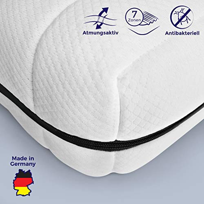 Mister Sandman atmungsaktive Kaltschaummatratze – 7-Zonen Matratze H2&H3, Premium Doppeltuchbezug, Gesamthhe ca. 15 cm. 120 x 190 cm H2
