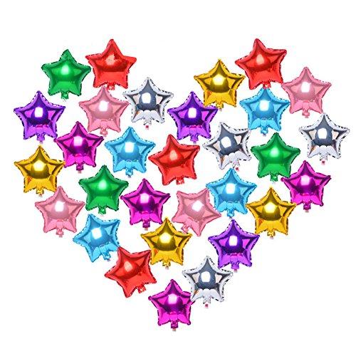 Zhiheng (20Stk) Sortierte Farbe 5 Sterne Helium Foil Ballons für Hochzeit Geburtstag Jahrestag Graduierung Party Dekoration (18 inch)