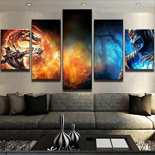 CVBGF Cuadros 5 Piezas Arte sobre Lienzo/Escorpión VS Mortal Kombat/Stampa su Tela, decoración de Pared Bellissimo Design con Enmarcado Arte Talla:M/W=150Cm,H=80Cm