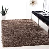 Safavieh Paris Shag Collection SG511-9292 Handmade Silken Glam Area Rug, 5' x 8', Sable