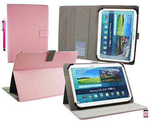 emartbuy® YunTab 3G Tablet 10.1 Zoll Universal Range (10-11 Zoll) Baby Pink Multi Angle Exekutiv Folio Mappen Kasten Abdeckung mit Kartensteckplätze + Eingabestift