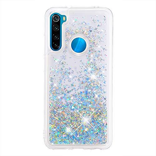 HopMore Glitter Funda para Xiaomi Redmi Note 8 2021 & 2019 Purpurina Silicona 3D Liquido Brillante Dibujos Transparente TPU Carcasa Redmi Note 8 Resistente Ultrafina Slim Case Antigolpes Caso - Plata