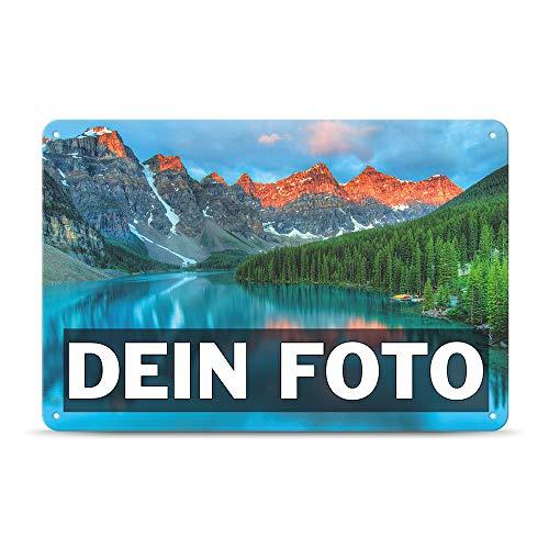 Tassendruck Blech-Schild mit Foto und Text selbst gestalten/Personalisierbar mit eigenem Bild als Metall-Poster / A4 (21x30cm) im Querformat/Weiss