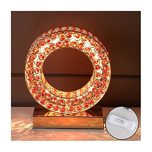 lámpara de noche Lámpara de mesa de cristal creativa moderna moderna anillo de decoración de la lámpara de mesa cálida y romántica sala de estar botón de dormitorio interruptor de noche lámpara de noc