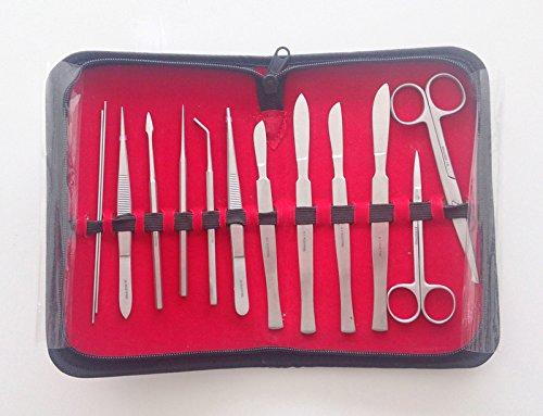 Medizin. Präparier Sezier-Besteck, Kosmetex Etui Anatomie Set gefüllt mit 13 Chirurgische Instrumenten