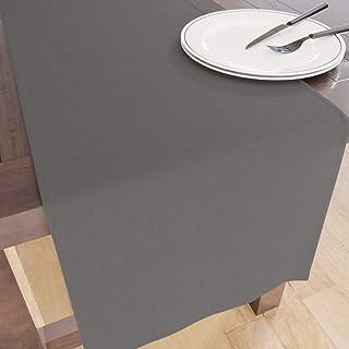 Encasa Homes Chemin de Table d' pour 6 Seater Dîner - Gris - Grand 40 x 150 cm, 100% Coton uni Teint en Couleurs Unies Tis...
