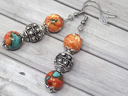 Pendientes de acero inoxidable con cuentas de jade reconstituidas, azul, marrón, naranja y blanco, y perlas con cristales