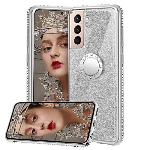 Cover pour Samsung Galaxy S21 Plus 5G, Glitter Lusso Strass Diamante Bling Diamanti Custodia con 360 Gradi Rotante Supporto Ring Kickstand Protezione Morbido Silicone TPU - Argento