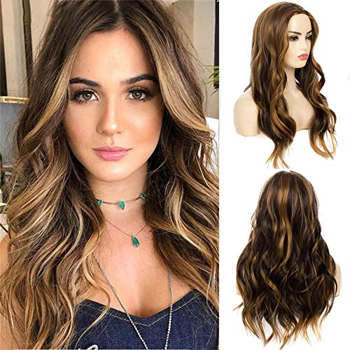 Baruisi Long Curly Wavy Brown Wig Blonde Highlights for Women Synthetic Middle Part Natural Looking Heat Resistant Cosplay Halloween Wig