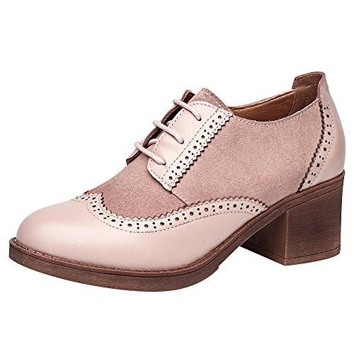 rismart Damen Brogue Spitz Wingtips Leder Oxford Wohnungen Schnürhalbschuhe SN02114(Pink,EU38)