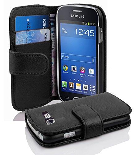 Cadorabo Samsung Galaxy Trend Lite Funda de Cuero Sintético Estructura en Negro ÓXIDO Cubierta Protectora Estilo Libro con Cierre Magnético, Tarjetero y Función de Suporte Etui Case Cover Carcasa