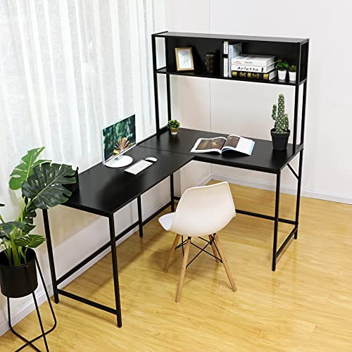 Gome L-Shaped Corner Desk with Hutch - Reversible Computer Writing Desk with Storage Shelves, Large PC Study Desk with Bookshelf, Modern Work Desk Gaming Table for Home Office (Matte Black)