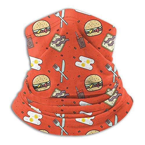 Lawenp Iconos de patrón de comida rápida Bufanda de cara cálida para el cuello en clima frío para unisex