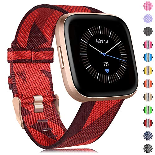 Onedream Compatible para Fitbit Versa/Versa 2 / Versa Lite/Versa Se Correa de Tejida para Mujeres Hombres, Banda de Nylon Ajustable Reemplazo de Pulsera Compatible para Fitbit Versa Smartwatch