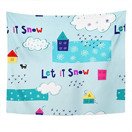 Tapiz simple Deja que la nieve caiga Tapiz para dormitorio Decoración de la habitación Colgante de pared Arte de la pared Tapiz Estera de picnic Toalla de playa Cubierta de cama 150x179CM