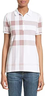 Women's ISNA Check Print Stretch Cotton Polo Shirt in Antique Rose