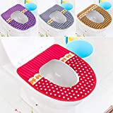 Vihax Bathroom Soft Thicker Warmer Toilet Seat Cover Pads Stretchable Washable Cloth Toilet