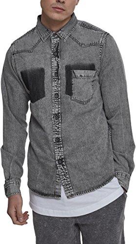 Urban Classics Denim Pocket Shirt Camisa Vaquera, Gris (Grey Wash 01378), L para Hombre