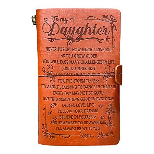 Cuaderno de dibujo de cuero vintage hecho a mano con cuenta a mi hija