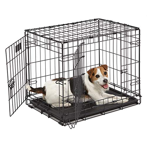 "Dog Crate | MidWest I Crate 24"" Double Door Folding Metal Dog Crate w/ Divider Panel, Floor Protecting Feet & Leak-Proof Dog Tray 
