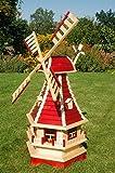 Deko-Shop-Hannusch Garten-Windmühle mit Lamellendach – Höhe 1,3 m mit Solarbeleuchtung
