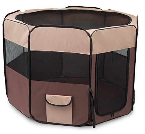 BIRDROCK HOME Internet's Best Soft Sided Pet Playpen - Large - Portable Puppy Pet Enclosure - Dog or Cat - Indoor Outdoor Mesh Kennel - Easy Travel - Folding and Collapsible Cage - Brown and Tan